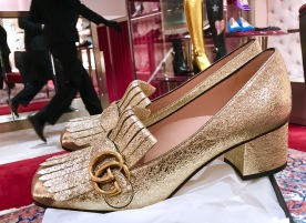 Gold gucci shoes